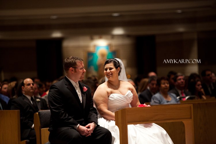 julie and mark catholic wedding ceremony in richardson texas at st josephs by dallas wedding photographer amy karp photography