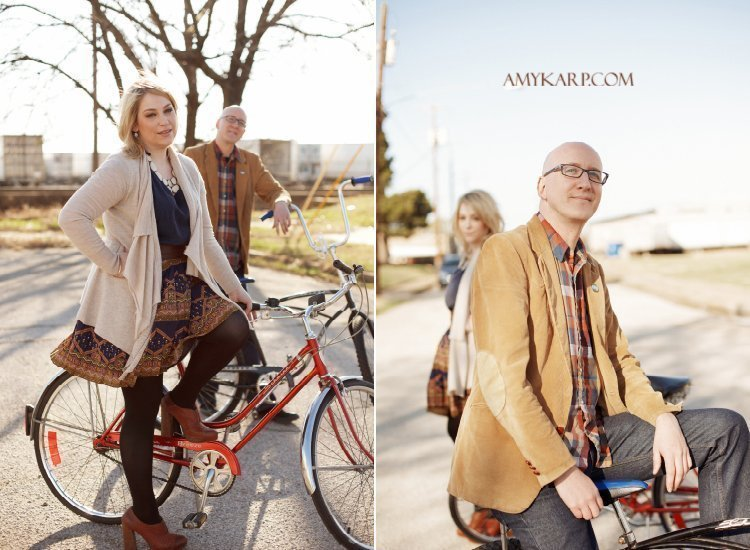 dallas wedding photographer with bicycles and a bar at a shoot