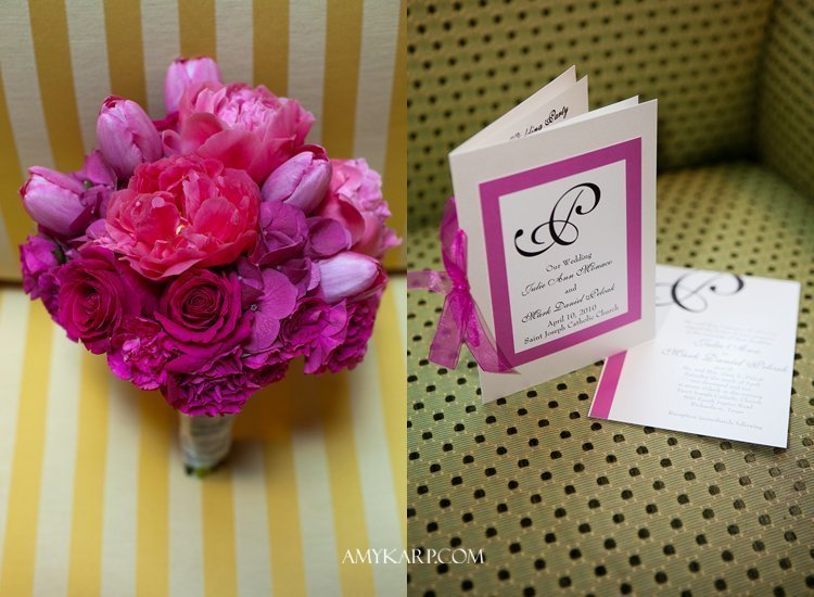 julie and mark wedding in plano texas at reneissance hotel with pink bridal bouquet by dallas wedding photographer amy karp photography