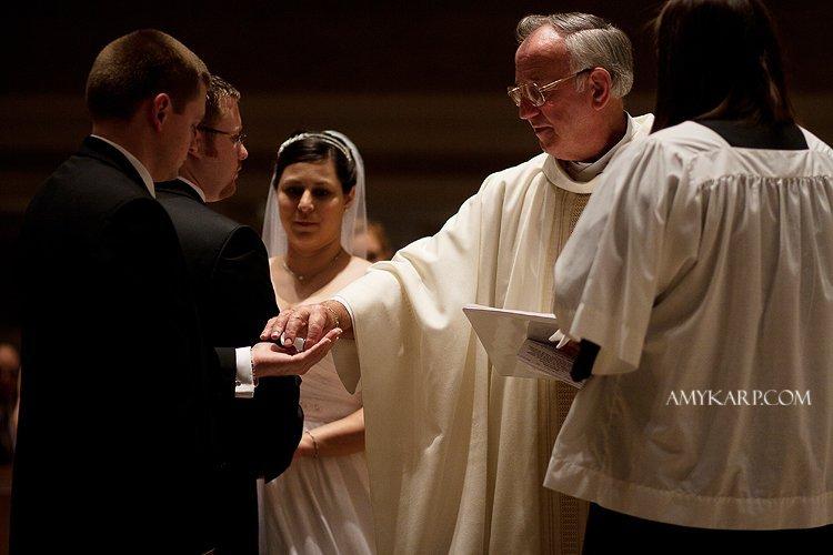 julie and mark catholic wedding ceremony in richardson texas at st josephs by dallas wedding photographer amy karp photography